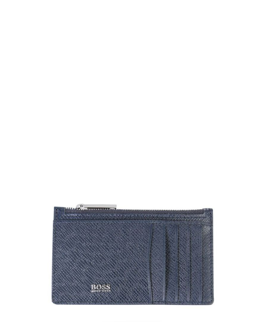 Image for HUGO BOSS MEN'S 50326710401 BLUE LEATHER CARD HOLDER