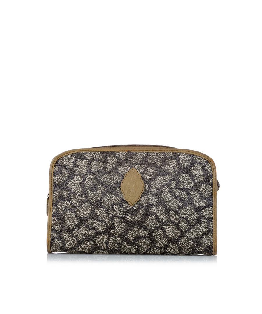 Image for Vintage YSL Printed Leather Clutch Bag Gray