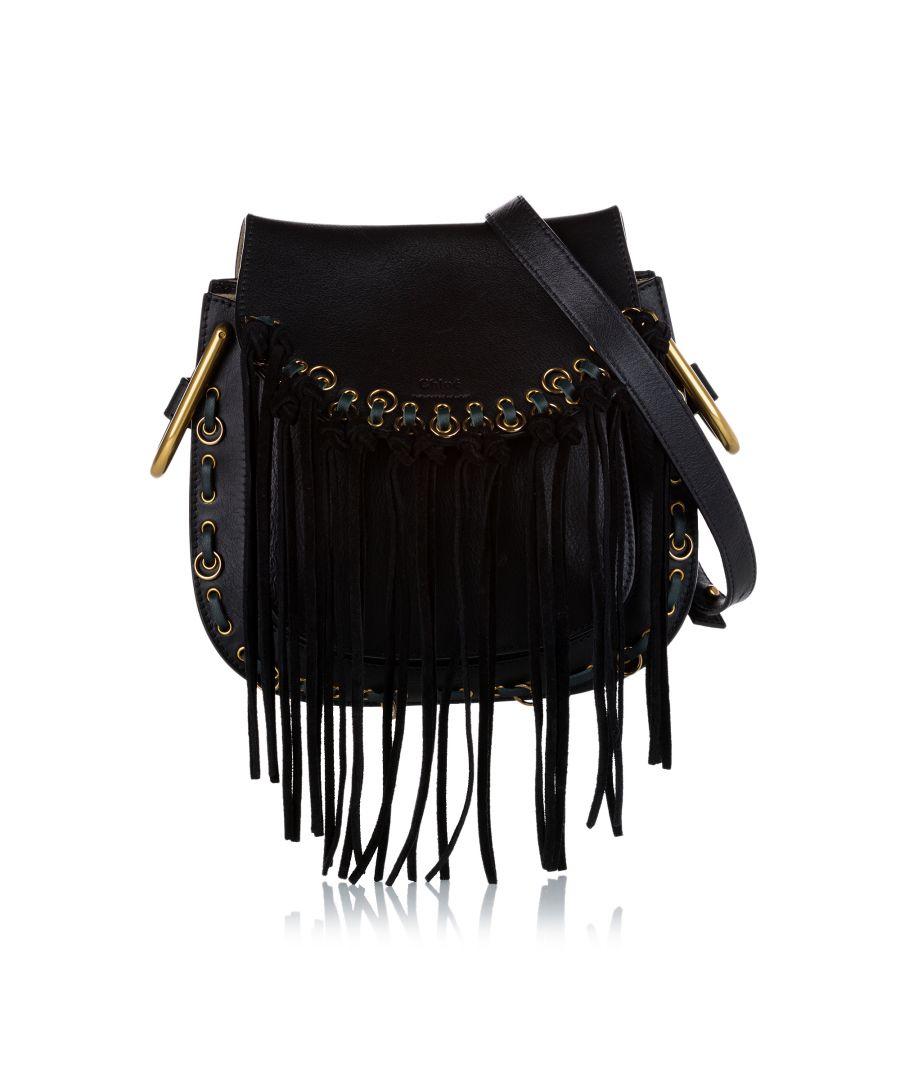 Image for Vintage Chloe Hudson Fringe Leather Crossbody Bag Black