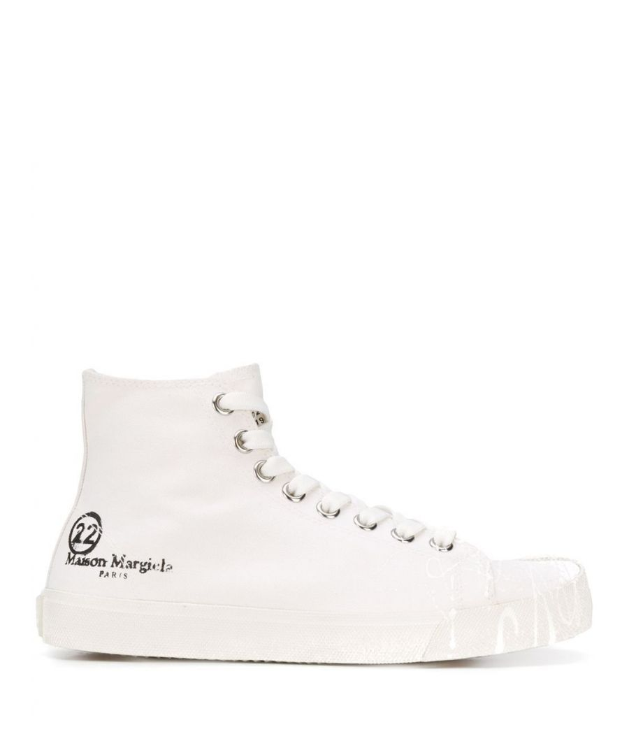 Image for MAISON MARGIELA WOMEN'S S58WS0111P2974T1003 WHITE FABRIC HI TOP SNEAKERS
