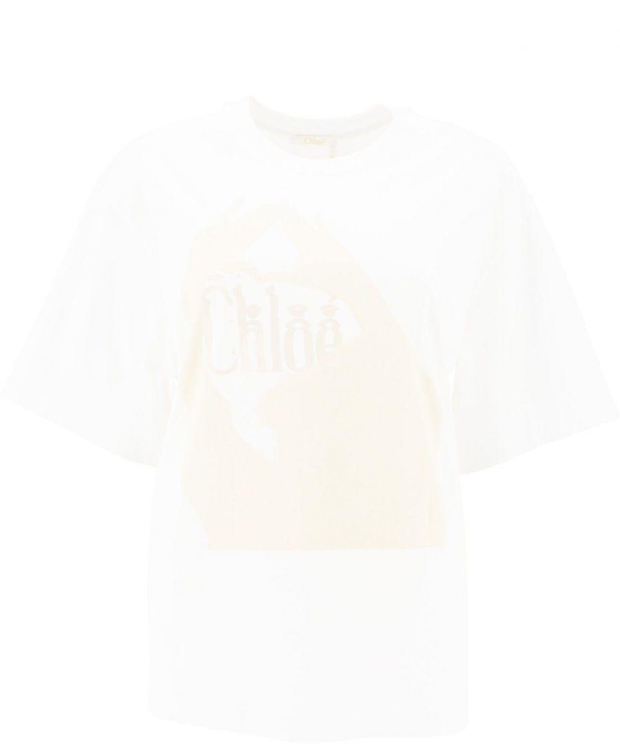 Image for CHLOÉ WOMEN'S CHC20SJH03181101 WHITE COTTON T-SHIRT