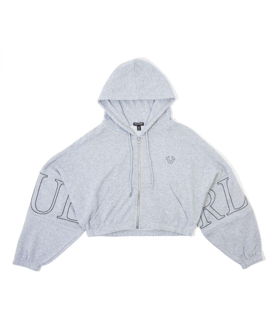 Image for True Religion Women's True Zip Crop Hoodie - Grey