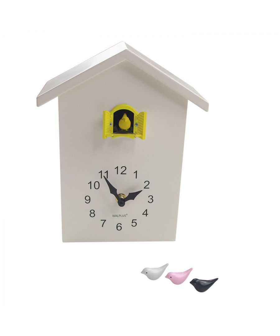 Image for Walplus White Cuckoo Table Clock - Yellow Window clock, Bedroom, Living room, Modern, Home office essential, Gift