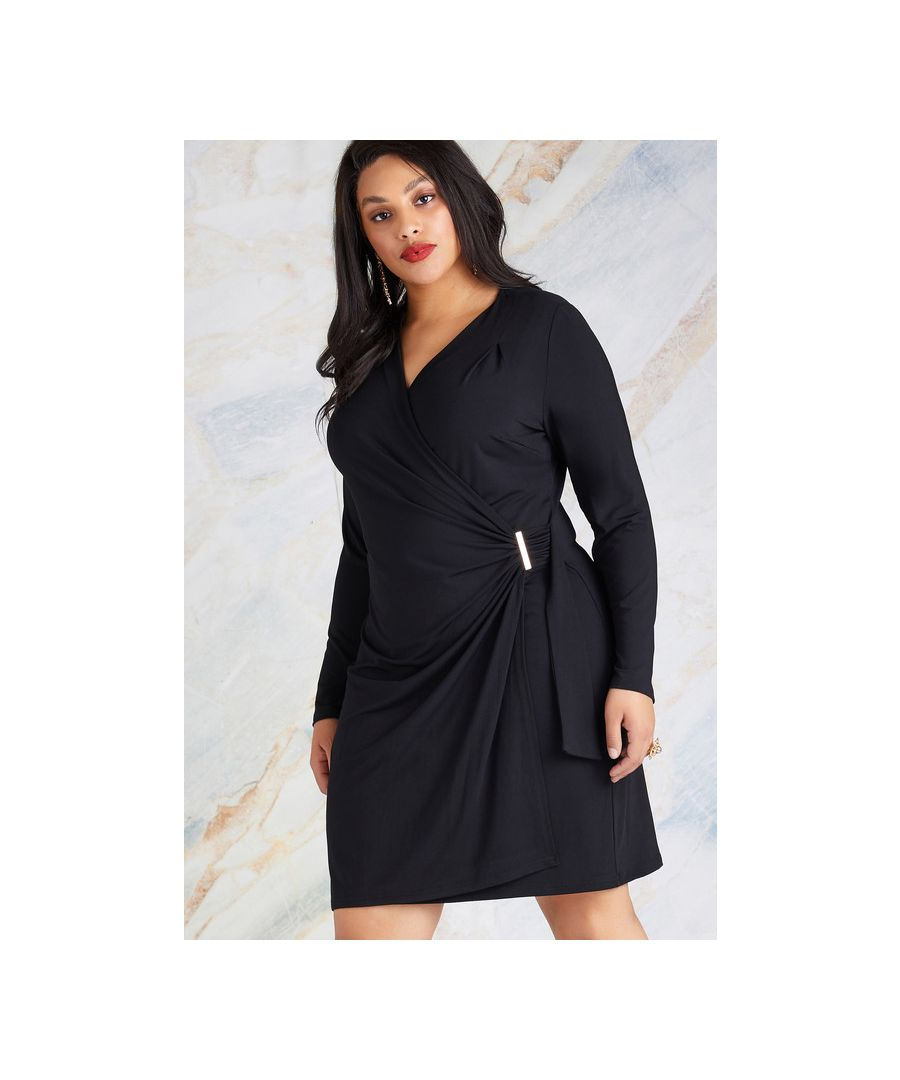 Image for Black Plus Size Ruched Wrap Jersey Dress With Hardwear