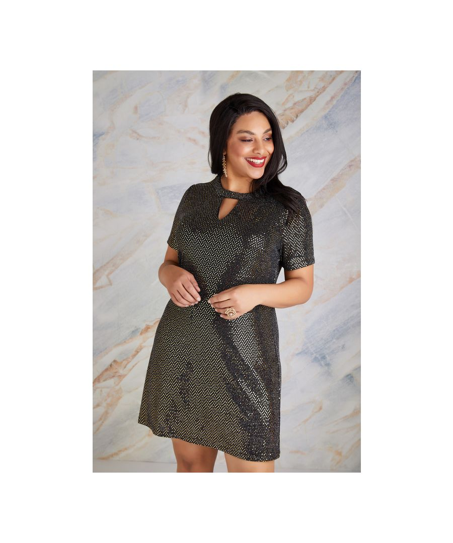 Image for Gold Plus Size Sparkle Sequin Tunic