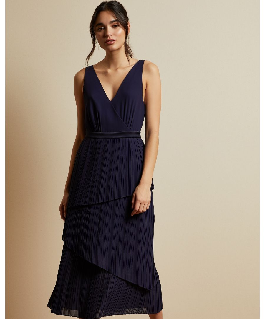 Image for Ted Baker Melodi Pleated Midi Dress With Tiered Detailing, Navy