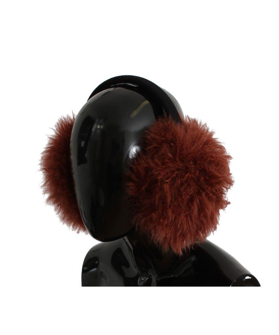 Image for Dolce & Gabbana Red Shearling Alpaga Wool Ear Muffs