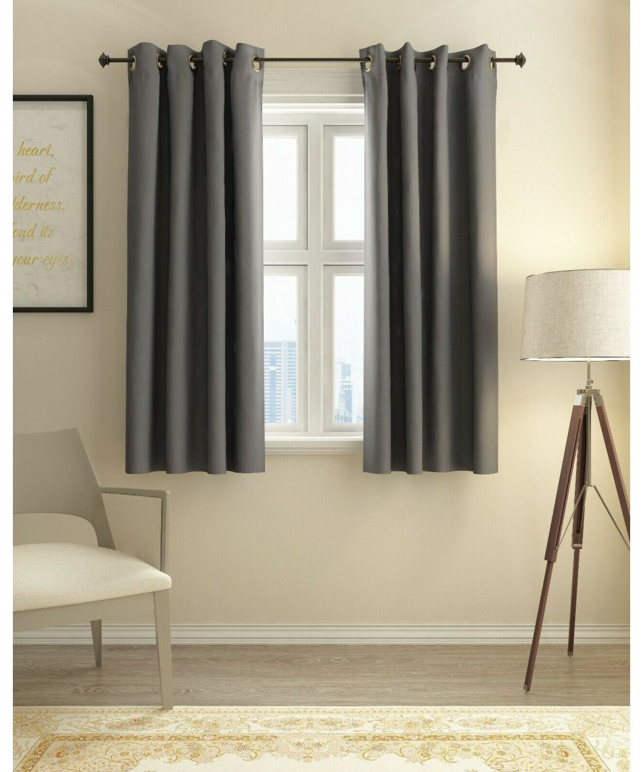 Image for Furinno Collins Blackout Curtain 52x63 in. 2 Panels, Dark Grey