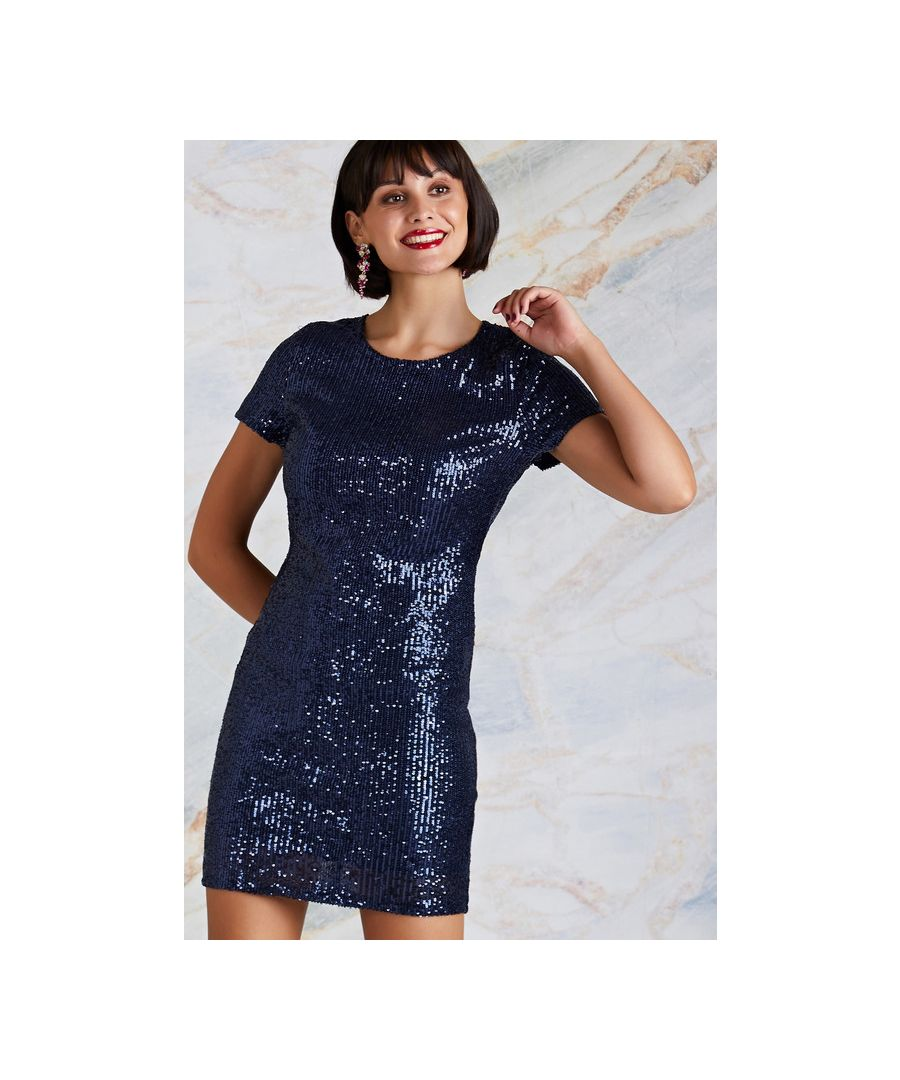 Image for Navy Sequin Party Bodycon Dress