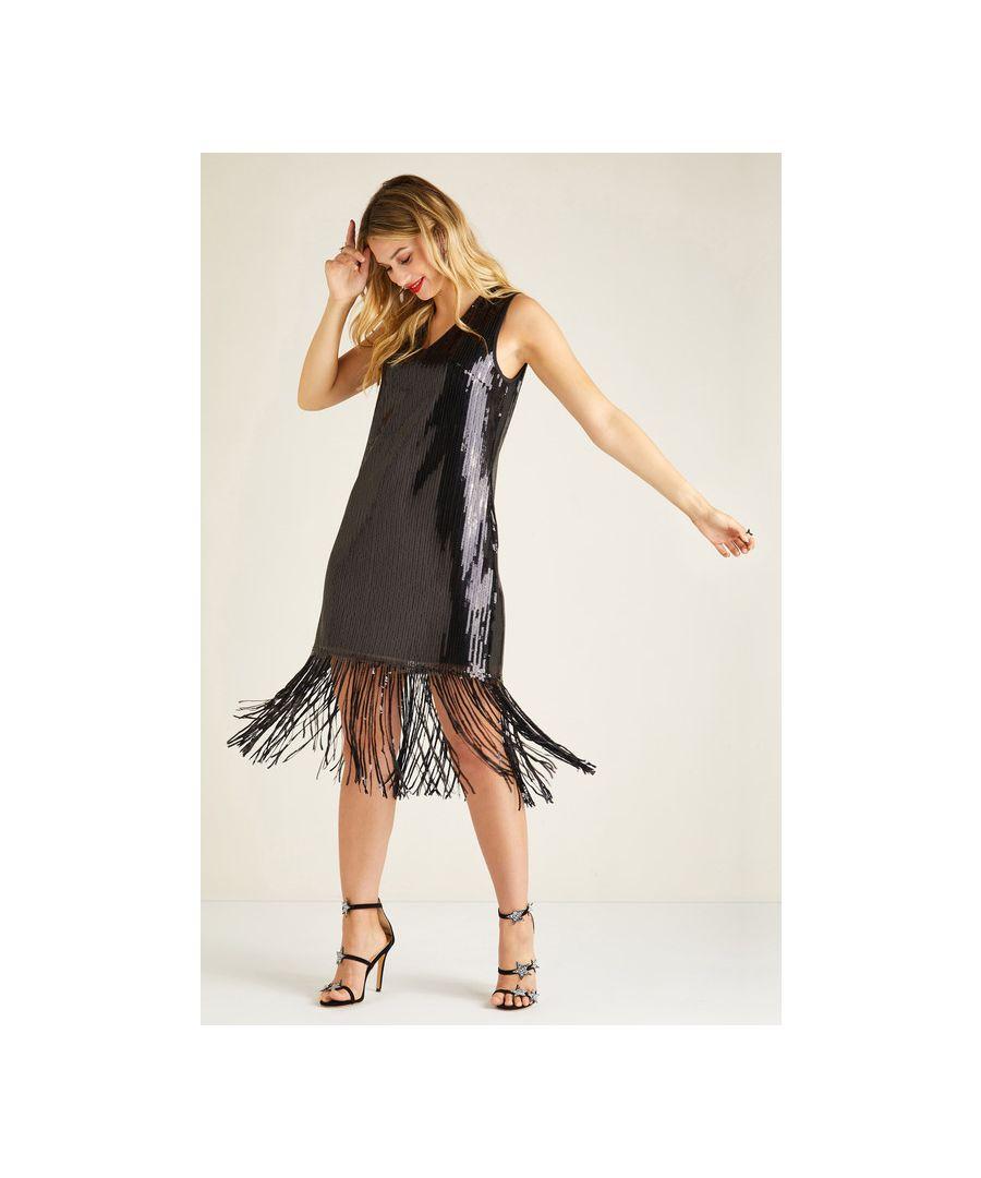 Image for Black Sequin Shift Dress With Tassel Hem