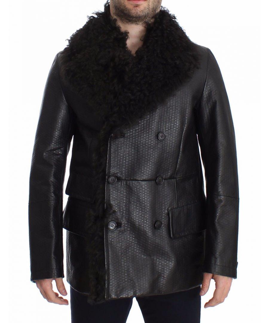Image for Dolce & Gabbana Black Lambskin Leather Jacket Trenchcoat