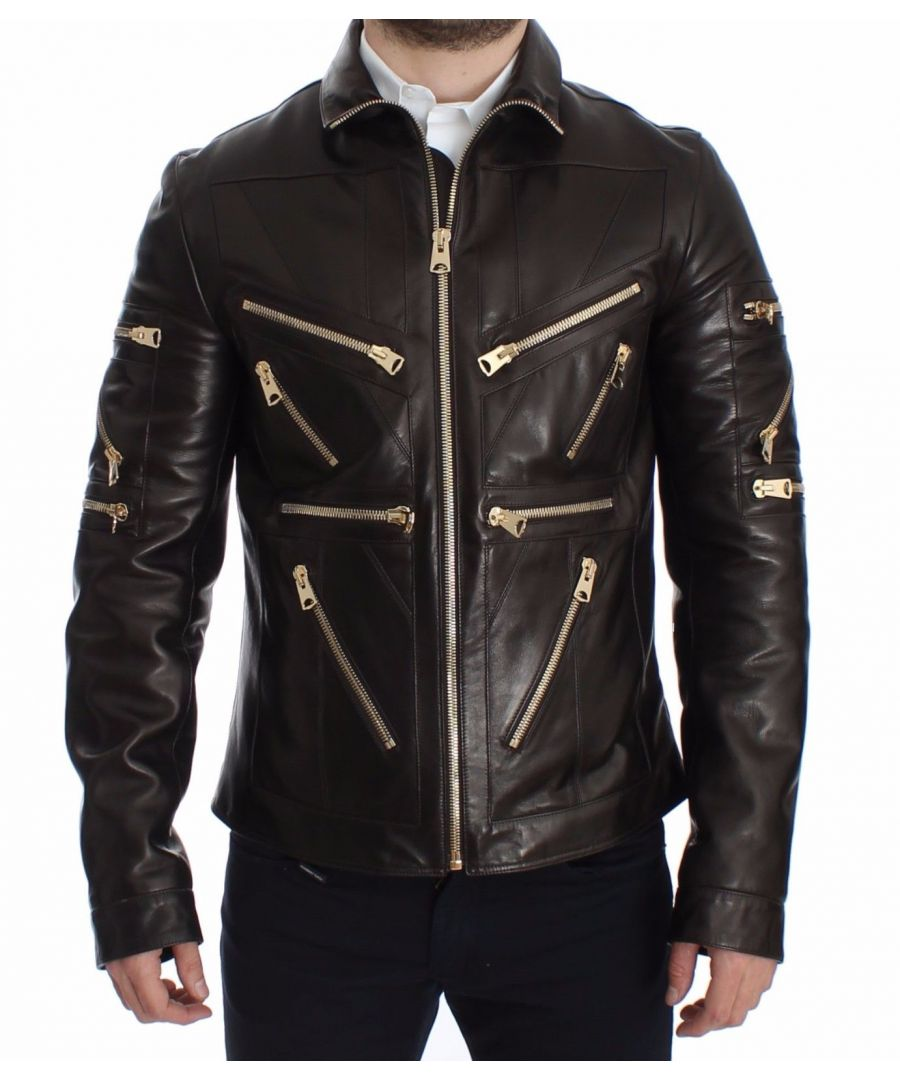 Image for Dolce & Gabbana Brown Lambskin Leather Zipper Jacket