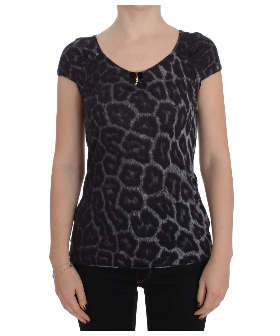 Image for Cavalli Gray Leopard Modal T-Shirt Blouse Top