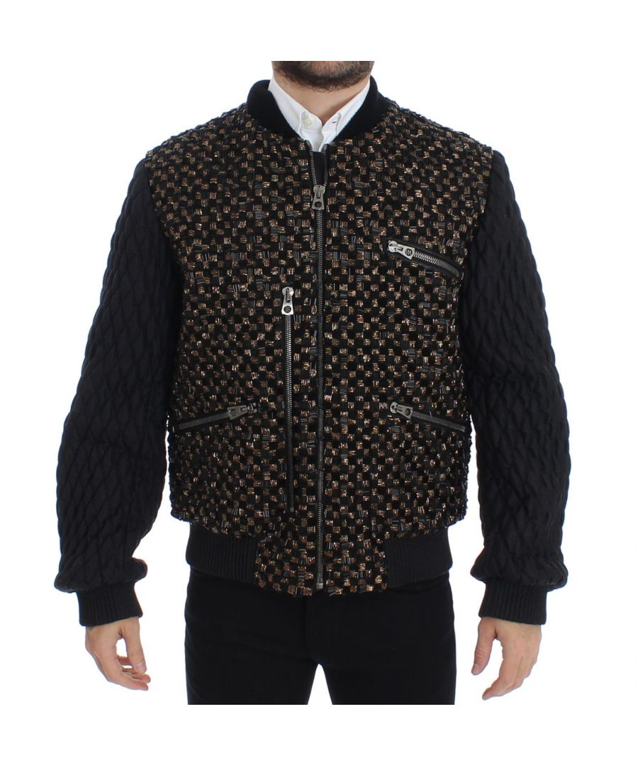 Image for Dolce & Gabbana Black Sequined Goatskin Jacket
