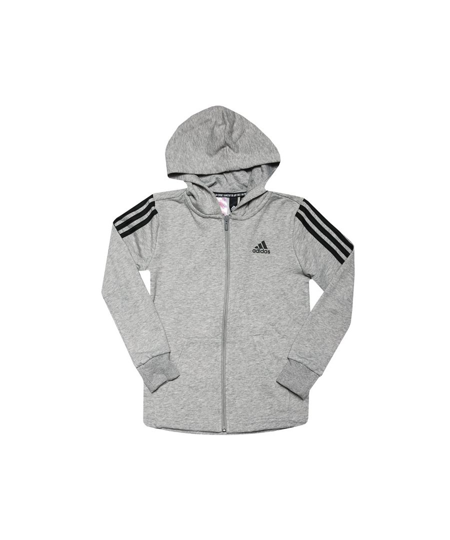 Image for Boys' adidas Junior Must Haves 3-Stripes Zip Hoodie Grey Black