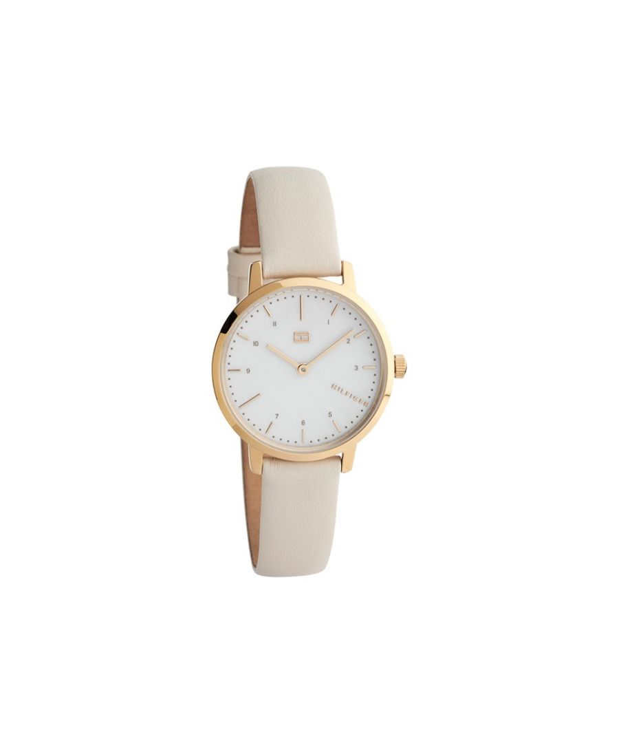 Image for Tommy Hilfiger Womens 1782038 Lily Mother Of Pearl Dial Leather Strap Watch