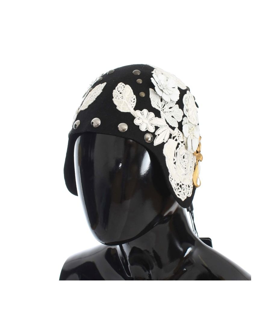 Image for Dolce & Gabbana Black Wool White Floral Gold Leaf Hat