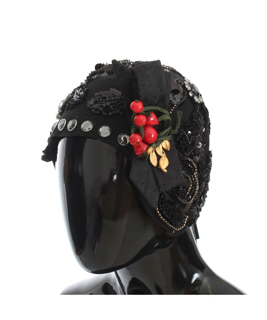 Image for Dolce & Gabbana Black Crystal Gold Cherries Brooch Hat