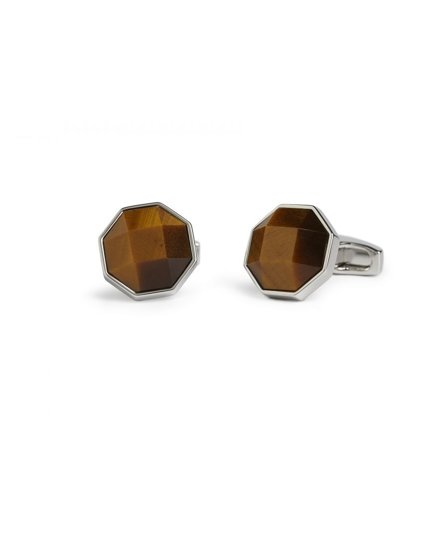Image for Facetted Tigerseye Octagon Cufflinks