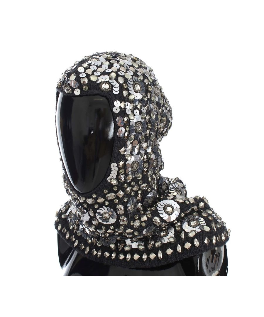 Image for Dolce & Gabbana Gray Crystal Sequin Hood Scarf Hat