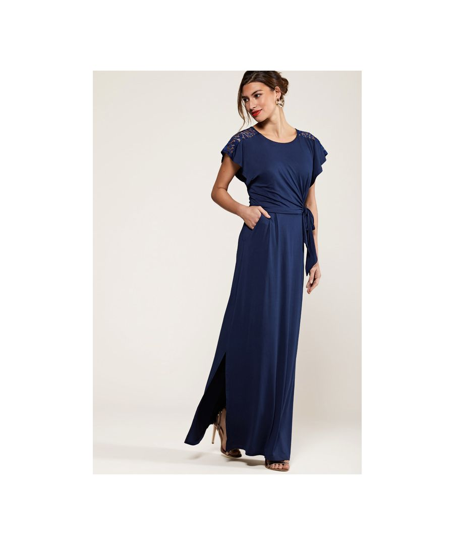 Image for Navy Ruched Maxi Dress With Lace Detail