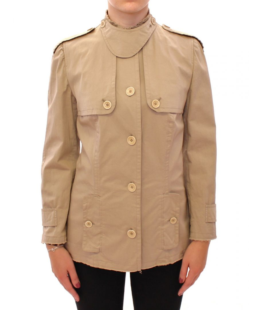 Image for Dolce & Gabbana Beige Cotton Short Trench Coat Jacket Top