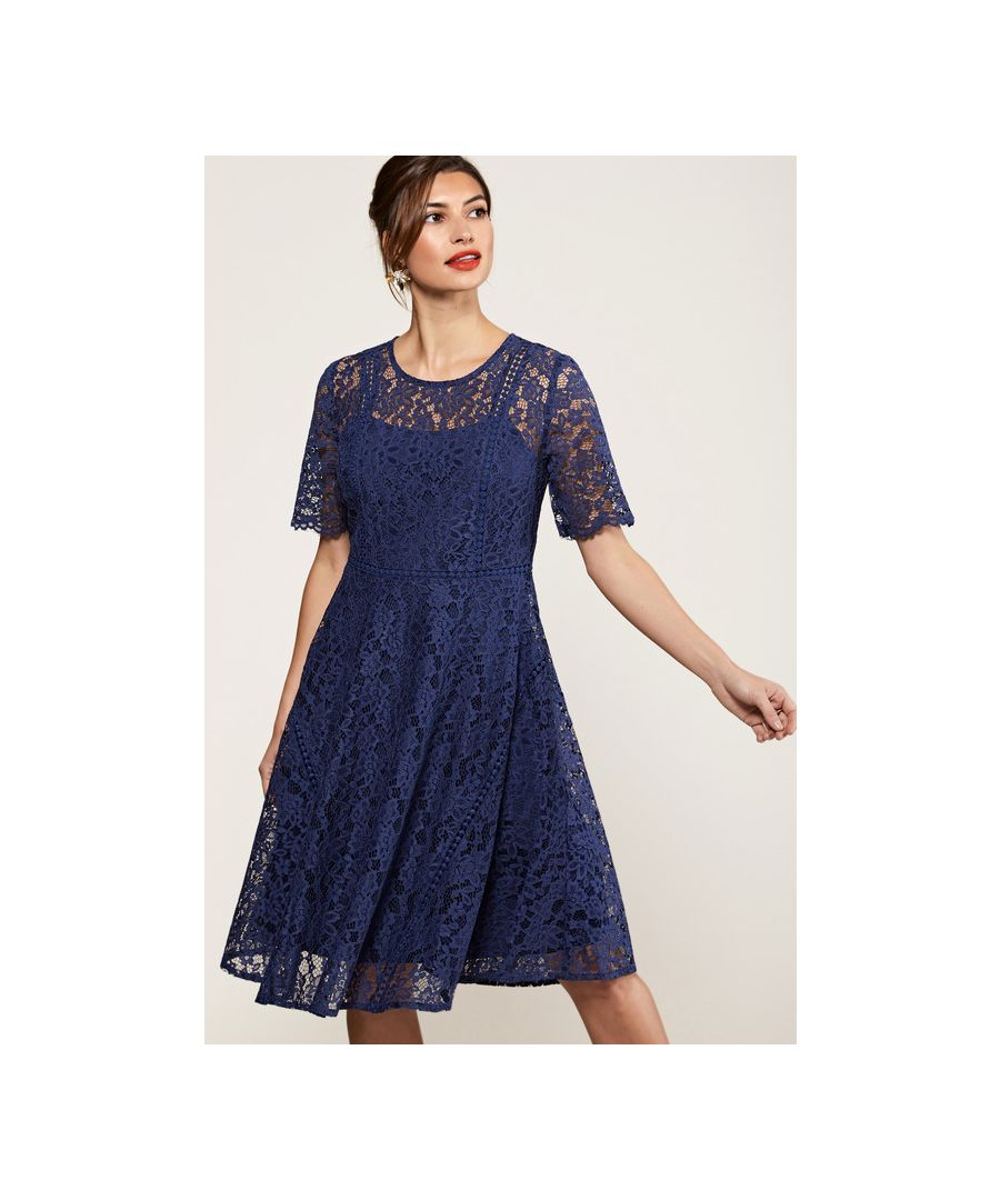 Image for Navy Fit And Flare Lace Dress With Lace