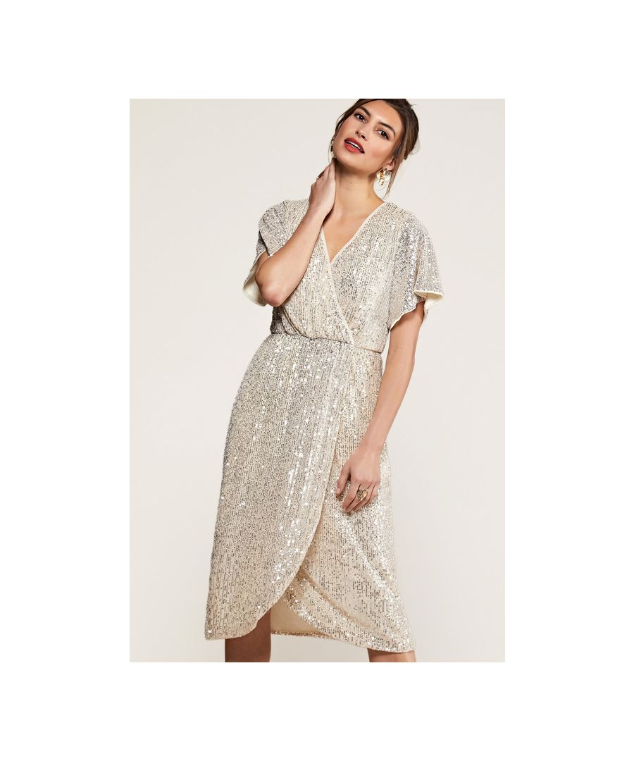 Image for Silver Sequin Wrap Dress