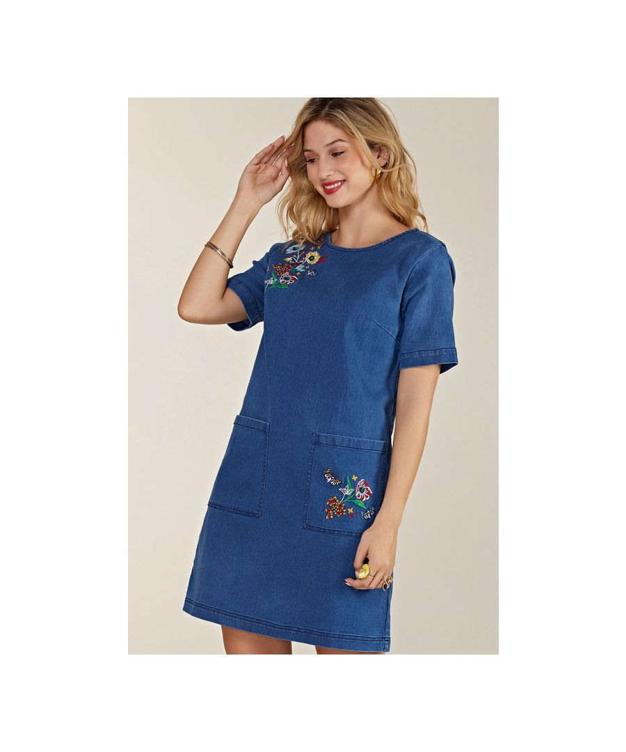 Image for Blue Butterfly Embroidered Denim Tunic With Pockets