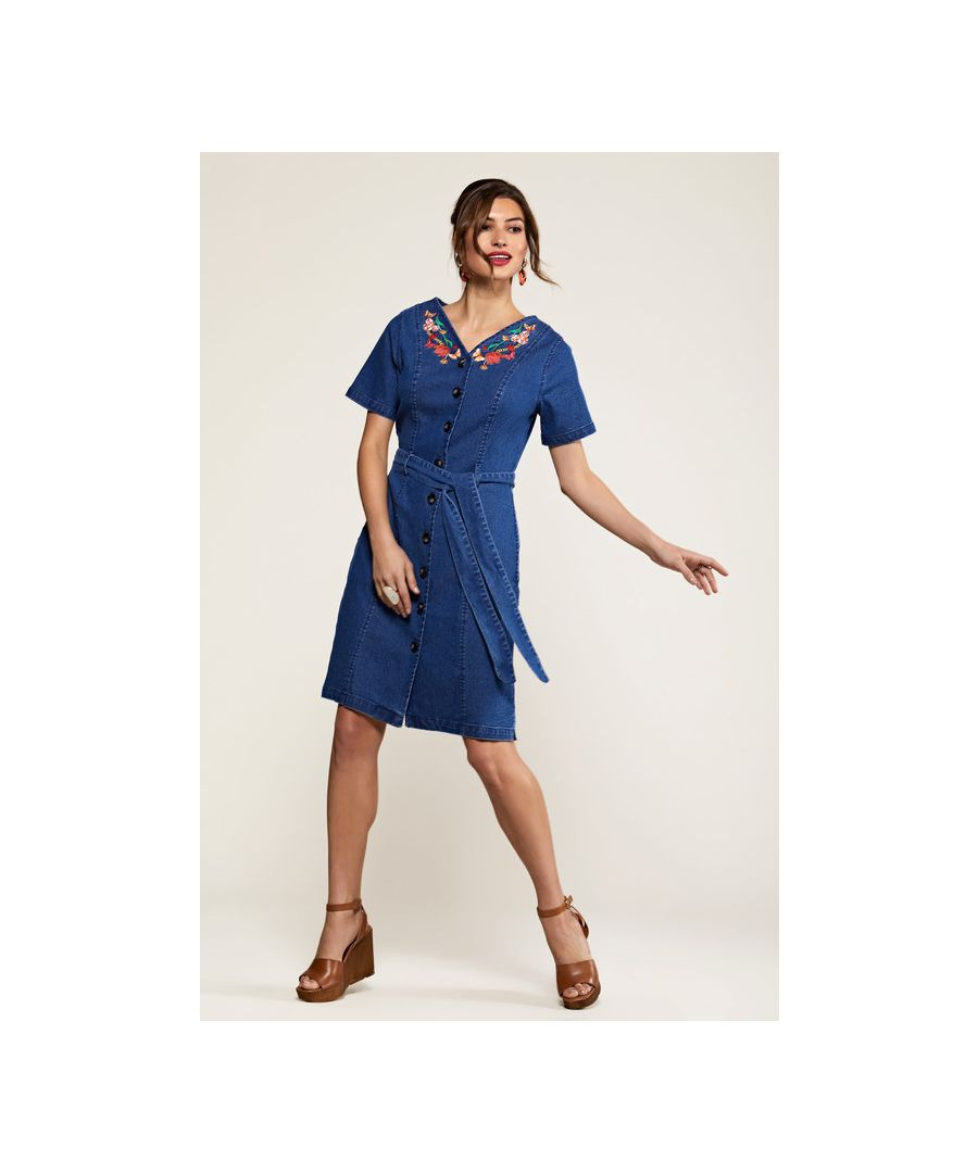 Image for Blue Butterfly Embroidered Denim Shirt Dress