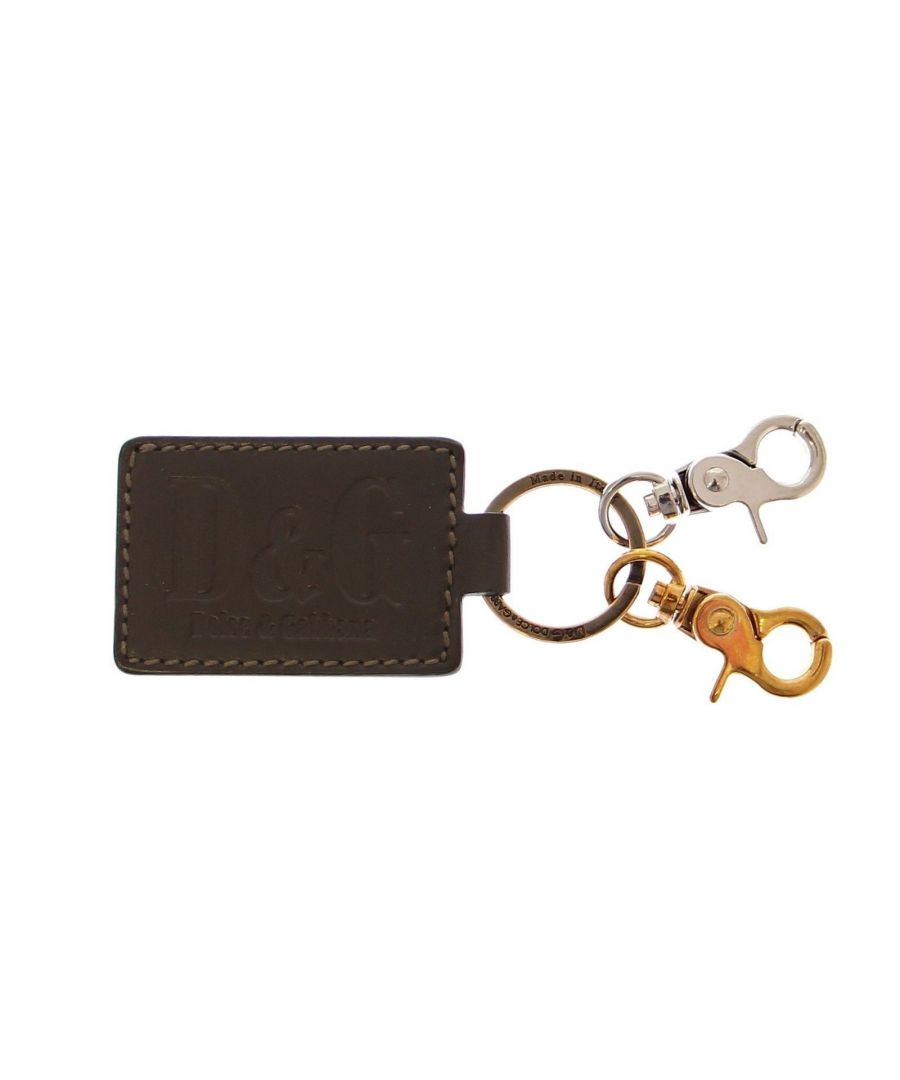 Image for Dolce & Gabbana Green Leather Metal Ring Keychain