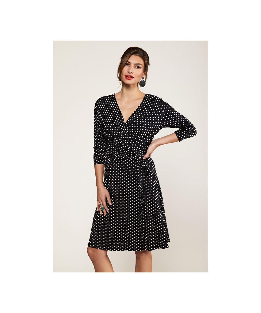 Image for Black Jersey Spot Wrap Dress