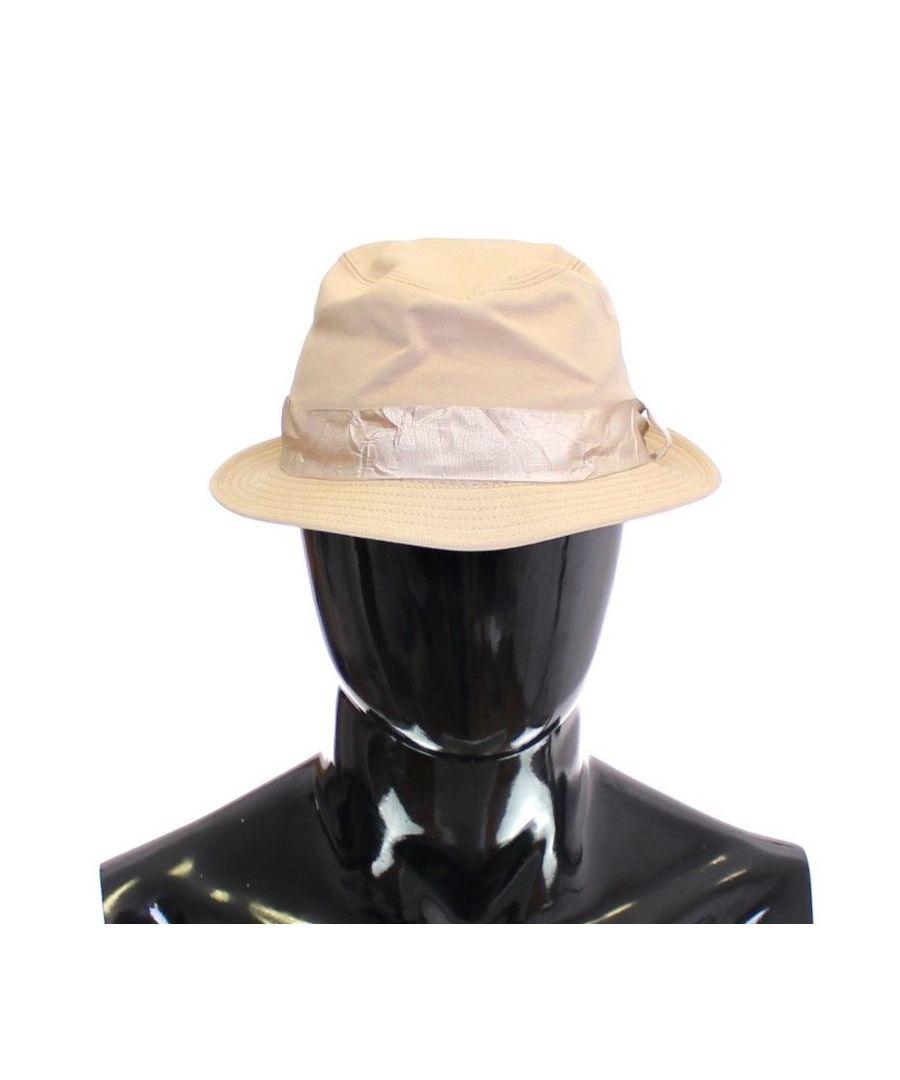 Image for Dolce & Gabbana Beige Cotton Logo Fedora Trilby Hat