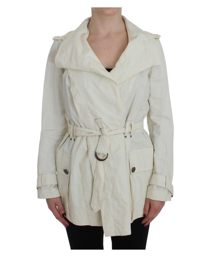 Image for PLEIN SUD White Trench Coat Jacket