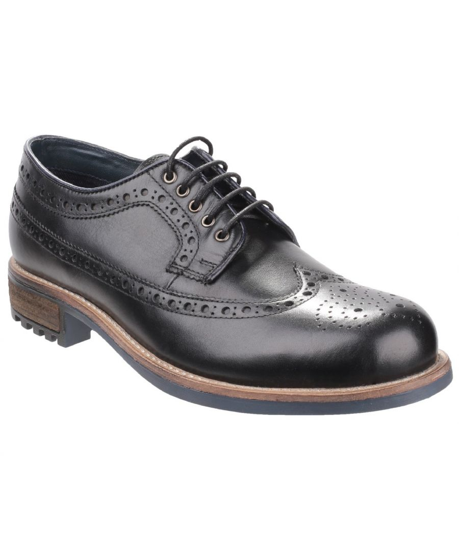 Image for Cotswold Mens Poplar Brogue Leather Dress Shoes (Black)