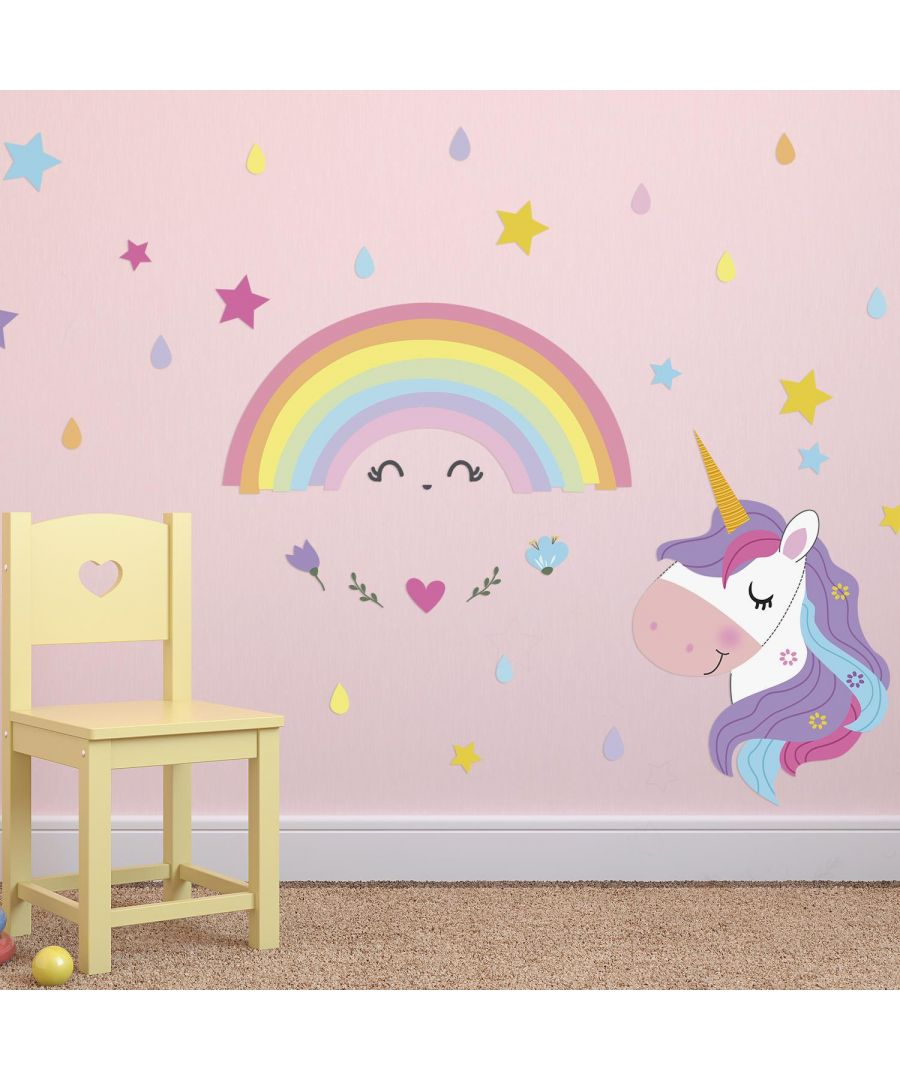 Image for Magical Unicorn Rainbow Wall Stickers Kids Room, nursery, children's room, boy, girl