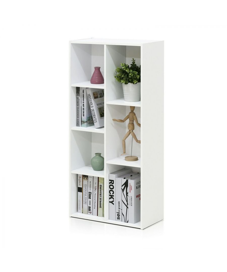 Image for Furinno Reed 7-Cube Reversible Open Shelf, White