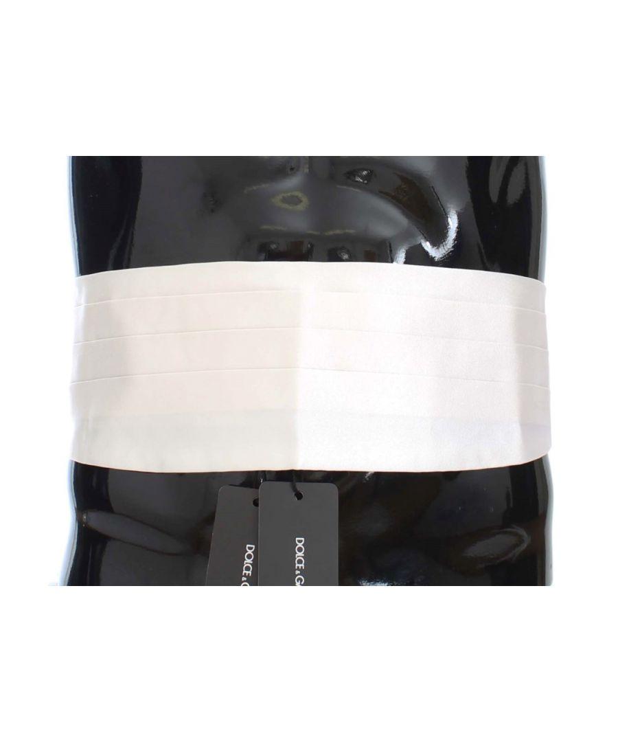 Image for Dolce & Gabbana White Smoking Belt Silk Cummerbund