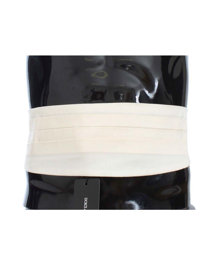 Image for Dolce & Gabbana White Wide Belt Silk Cummerbund