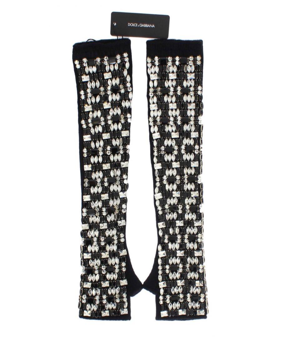 Image for Dolce & Gabbana Black Cashmere Crystal Finger Less Gloves