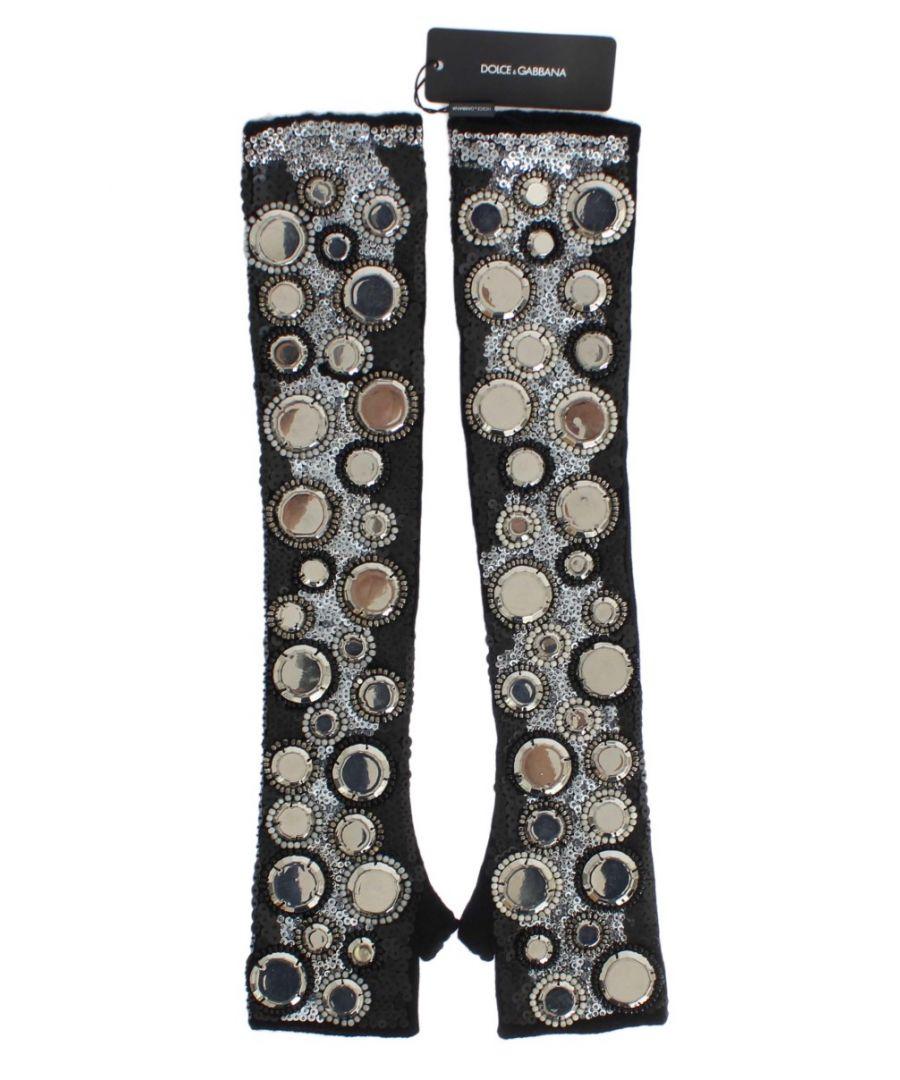 Image for Dolce & Gabbana Black Cashmere Sequined Finger Less Gloves