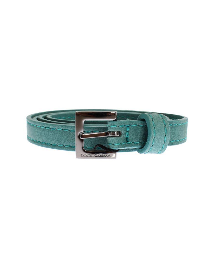 Image for Dolce & Gabbana Green Leather Silver Buckle Logo Belt