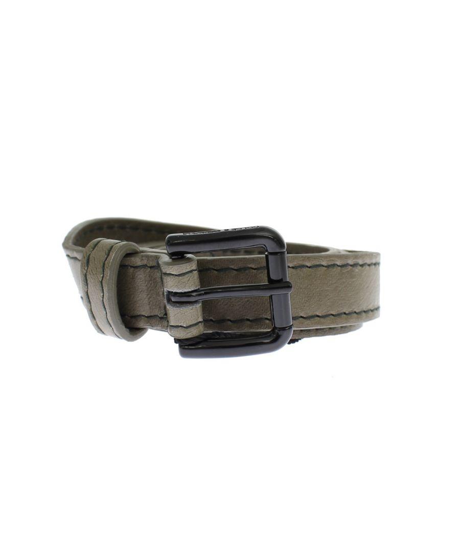 Image for Dolce & Gabbana Gray Leather Black Buckle Logo Belt