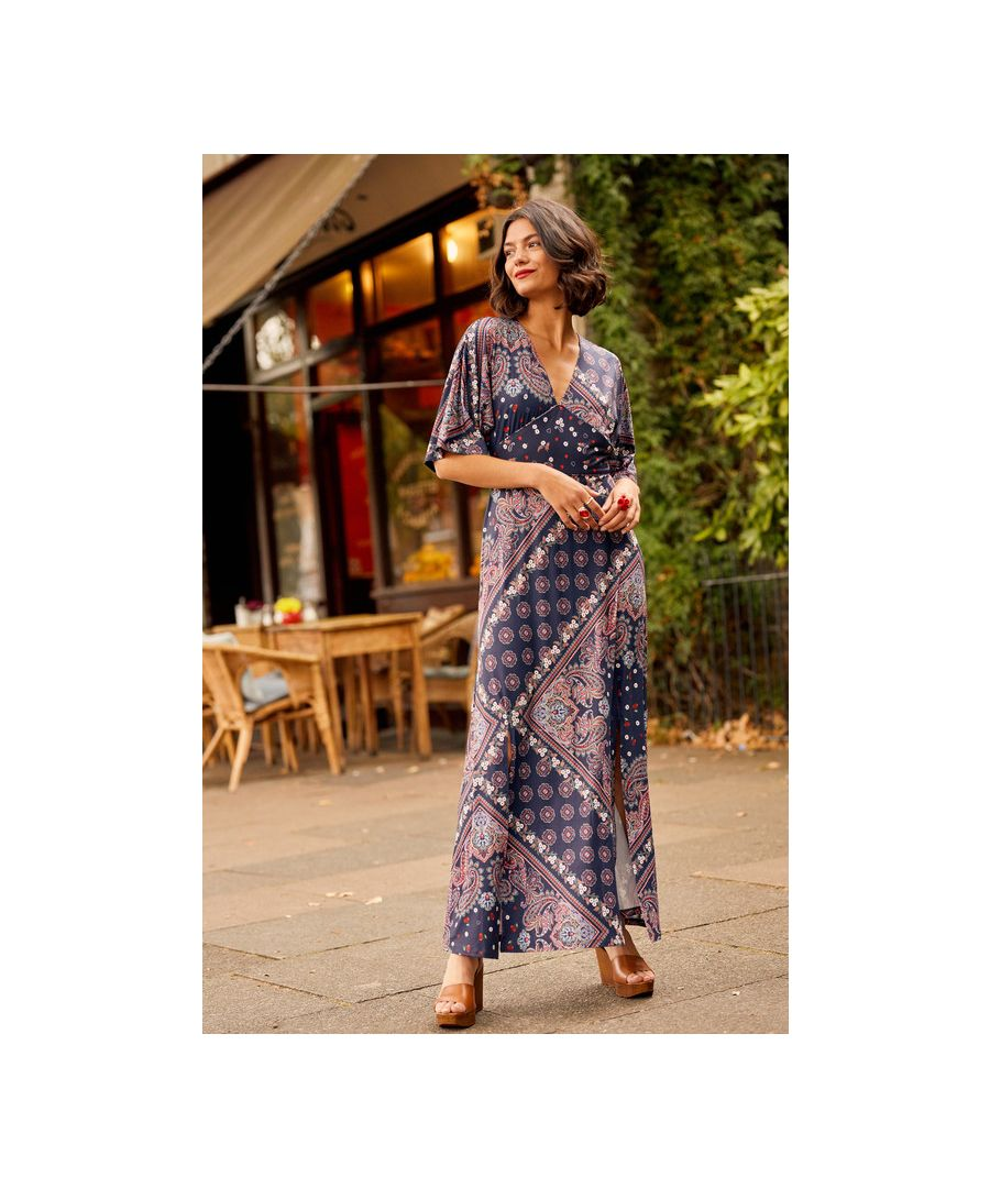 Image for Navy Ditsy Scarf Print Maxi Dress With Kimono Sleeve