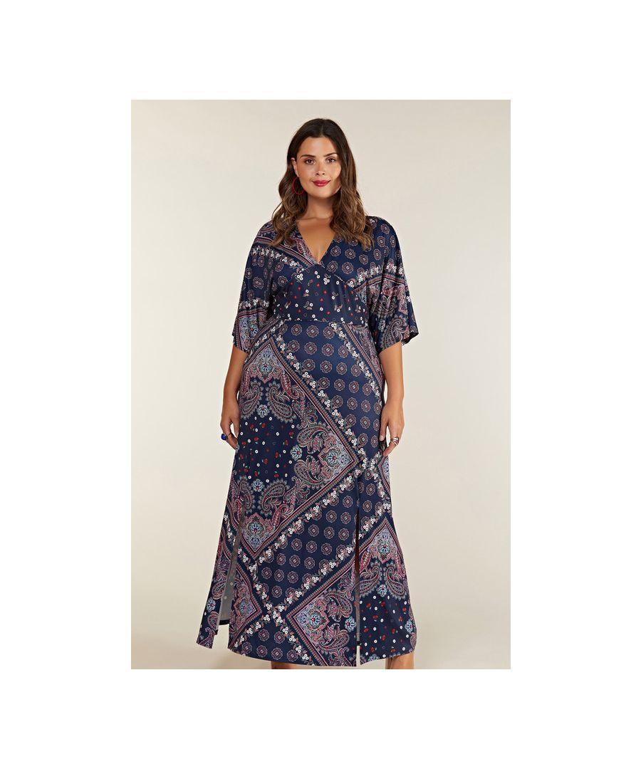 Image for Navy Plus Size Ditsy Scarf Print Maxi Dress With Kimono Sleeves