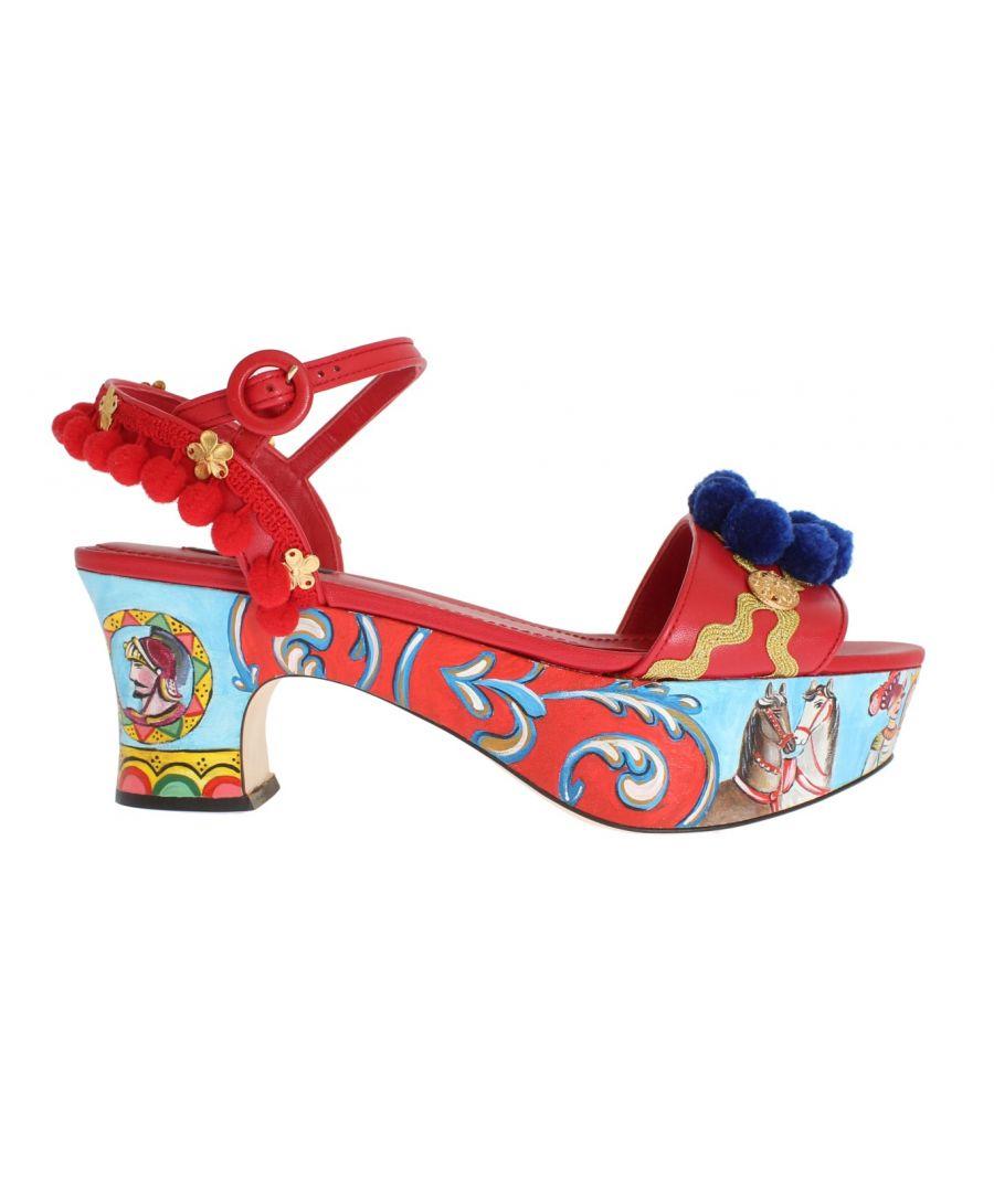 Image for Dolce & Gabbana Multicolor Handpainted Carretto Platform Heel