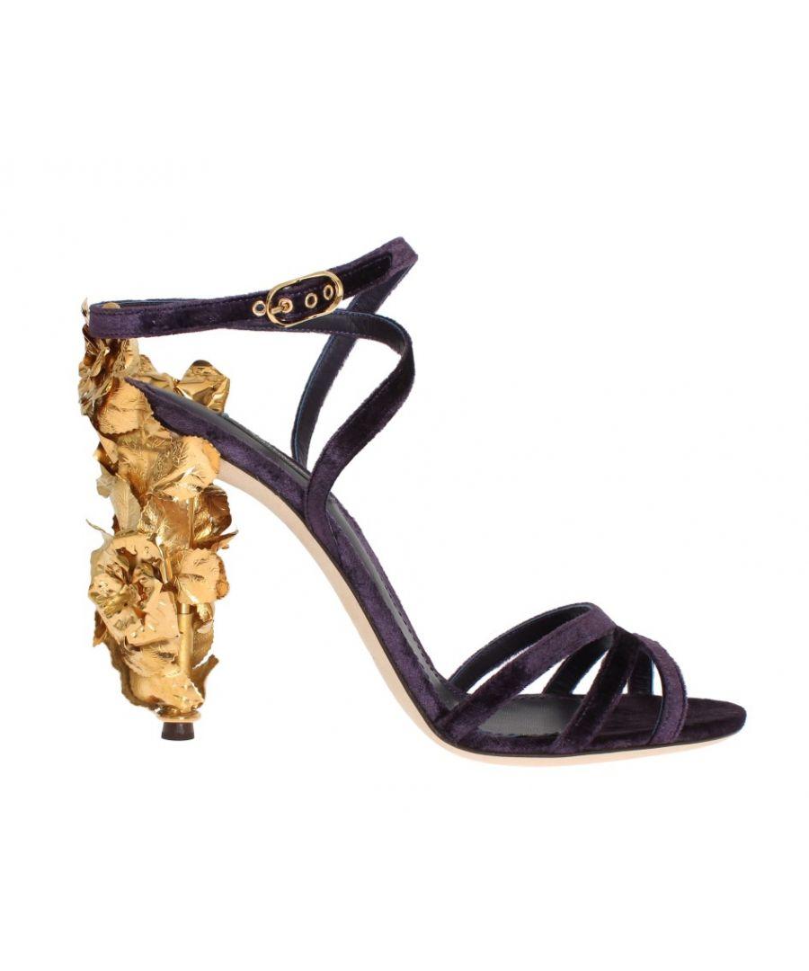 Image for Dolce & Gabbana Purple Velvet Gold Leaf Sandal Shoes