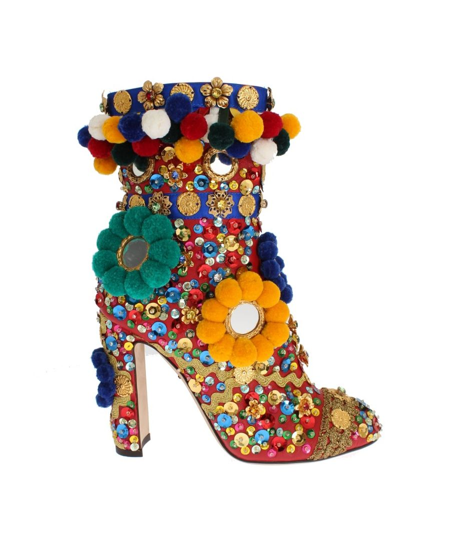Image for Dolce & Gabbana Red Embellished Ankle Boots