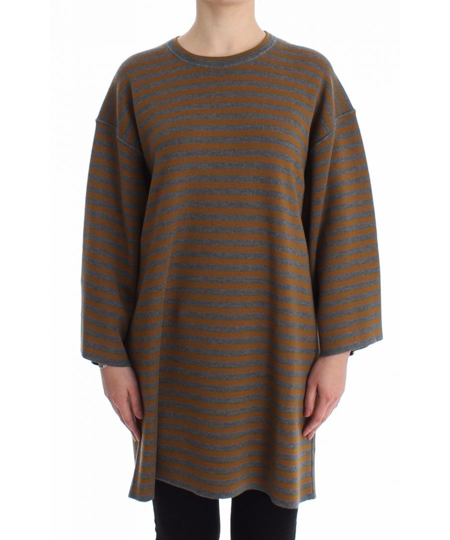 Image for Dolce & Gabbana Oversized Gray Yellow Striped Sweater Top