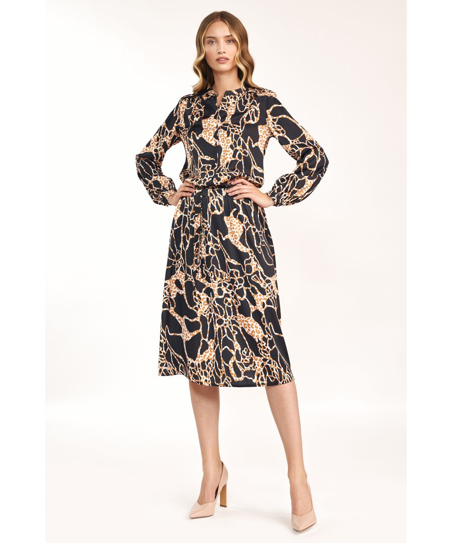Image for Patterned midi dress